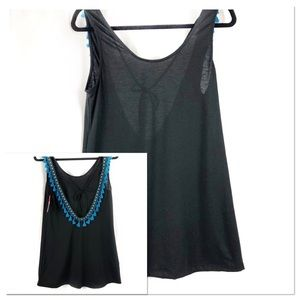 XHILARATION COVERUP | BLACK WITH BLUE TASSELS